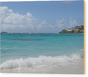 Wood Print featuring the photograph Gentle Wave On Dawn Beach by Margaret Bobb