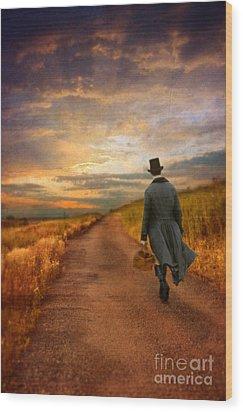 Gentleman Walking On Rural Road Wood Print by Jill Battaglia
