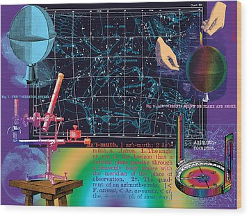 Geography And Voyaging Homage To Joseph Cornell Wood Print by Eric Edelman
