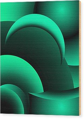 Geometric Abstract In Green Wood Print by David Lane