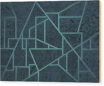 Geometric Abstraction In Blue Wood Print by David Gordon