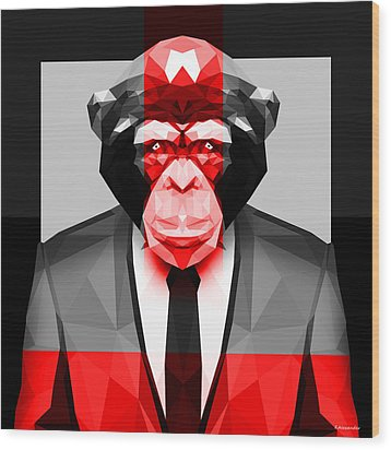 Geometric Ape Wood Print by Gallini Design