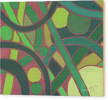 Wood Print featuring the painting Geometric Study Green On Copper by Ania M Milo