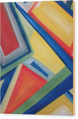 Wood Print featuring the painting Geometric Tension Series IIi by Patricia Cleasby