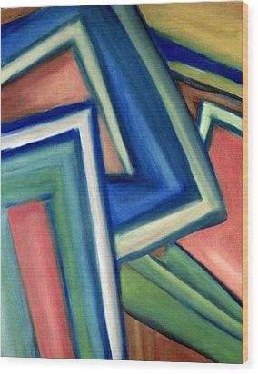 Wood Print featuring the painting Geometric Tension Series Iv by Patricia Cleasby