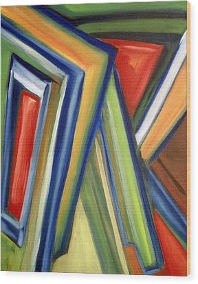 Wood Print featuring the painting Geometric Tension Series V by Patricia Cleasby