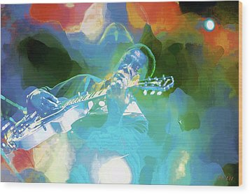 George Benson, Watercolor Wood Print