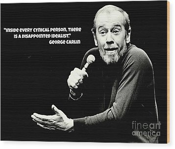 George Carlin Art  Wood Print