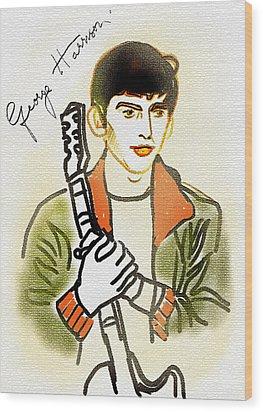 George Harrison - 2 Wood Print by GooDaCool Gallery