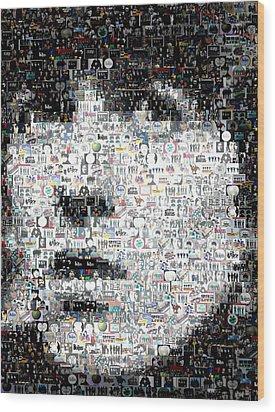 George Harrison Mosaic Wood Print by Paul Van Scott