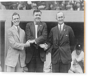 Wood Print featuring the photograph George Sisler - Babe Ruth And Ty Cobb - Baseball Legends by International  Images