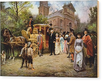 George Washington Arriving At Christ Church Wood Print by War Is Hell Store