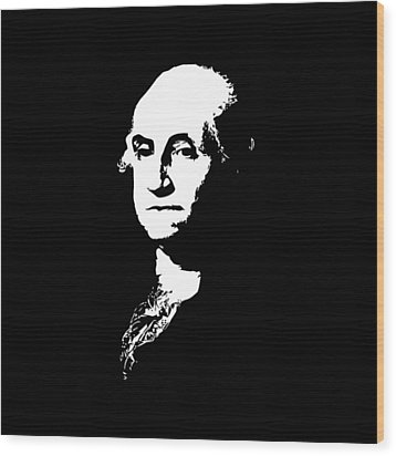 George Washington Black And White Wood Print by War Is Hell Store