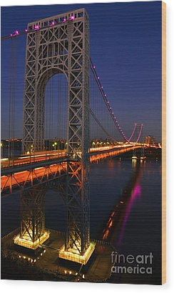 George Washington Bridge At Night Wood Print by Zawhaus Photography