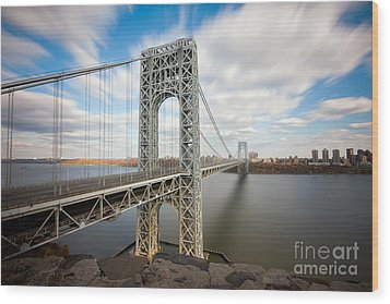 George Washington Bridge Wood Print by Greg Gard