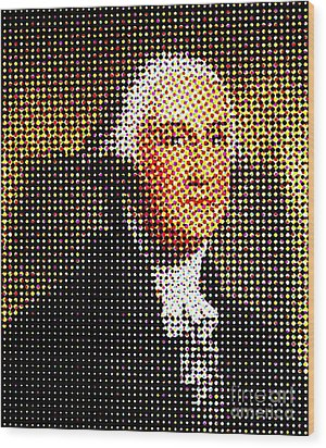 George Washington In Dots  Wood Print