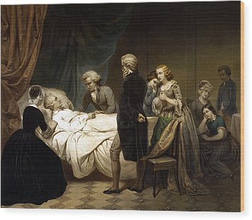 Wood Print featuring the painting George Washington On His Deathbed by War Is Hell Store