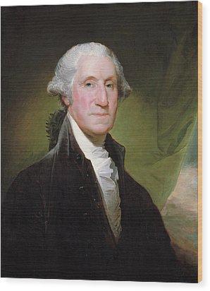 George Washington Portrait Wood Print by Gilbert Stuart