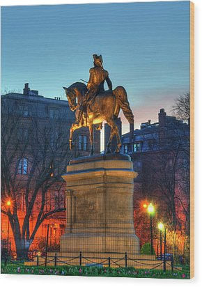 Wood Print featuring the photograph George Washington Statue In Boston Public Garden by Joann Vitali