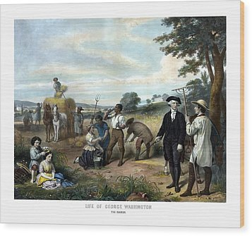George Washington The Farmer Wood Print by War Is Hell Store