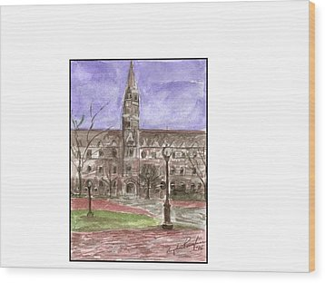 Georgetown University Healy View Wood Print by Angela Puglisi