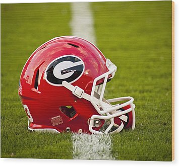 Georgia Bulldogs Football Helmet Wood Print by Replay Photos