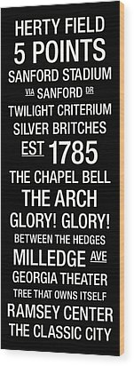 Georgia College Town Wall Art Wood Print by Replay Photos