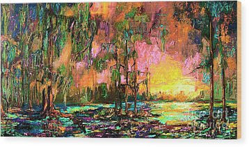 Georgia Landscape Okefenokee Sunset  Wood Print by Ginette Callaway