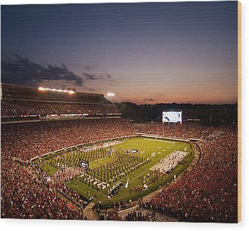 Georgia Sunset Over Sanford Stadium Wood Print by Replay Photos