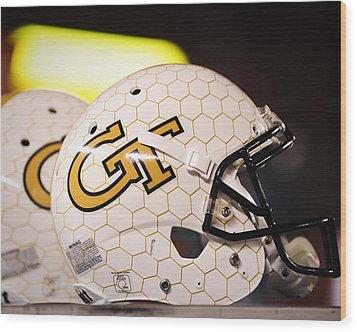 Georgia Tech Football Helmet Wood Print by Replay Photos
