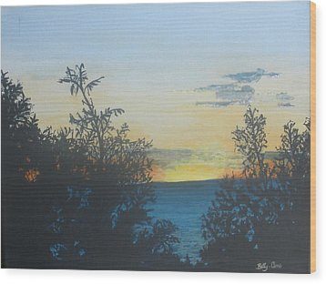 Wood Print featuring the painting Georgian Bay Sunset by Betty-Anne McDonald