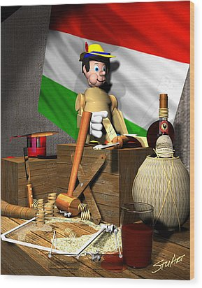 Geppettos Workbench-the Creation Of Pinocchio Wood Print