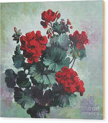 Wood Print featuring the painting Geranium by Elena Oleniuc