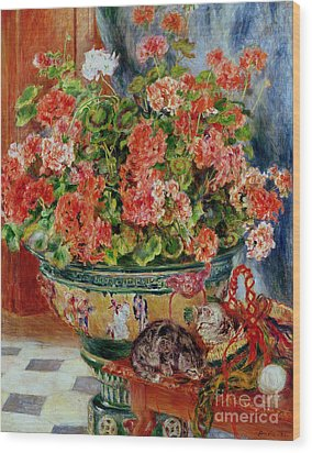 Geraniums And Cats Wood Print by Pierre Auguste Renoir