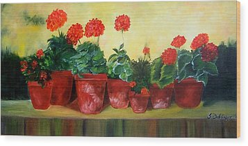Geraniums In A Row-- Sold Wood Print by Susan Dehlinger