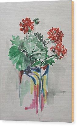 Geraniums In Vase Wood Print by Rita Fetisov
