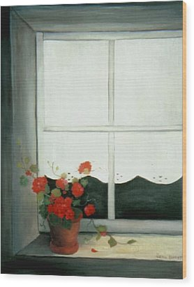 Geraniums In Window Wood Print by Glenda Barrett