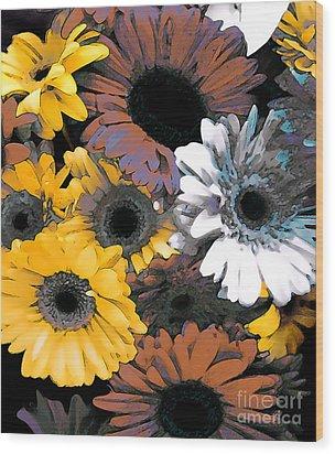 Gerbera Cluster Wood Print by Linda  Parker