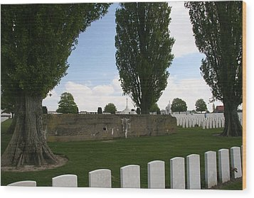 Wood Print featuring the photograph German Bunker At Tyne Cot Cemetery by Travel Pics