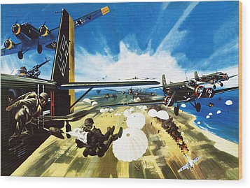 German Paratroopers Landing On Crete During World War Two Wood Print by Wilf Hardy