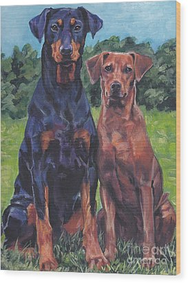 Wood Print featuring the painting German Pinschers by Lee Ann Shepard