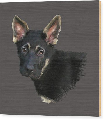 German Shepard Puppy Wood Print by Kathie Miller