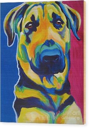 German Shepherd - Duke Wood Print by Alicia VanNoy Call