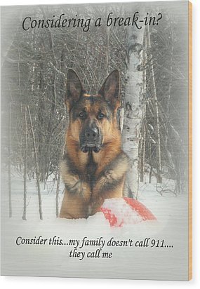 German Shepherd 911 Wood Print