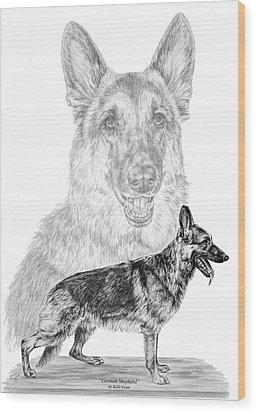 German Shepherd Dogs Print Wood Print by Kelli Swan