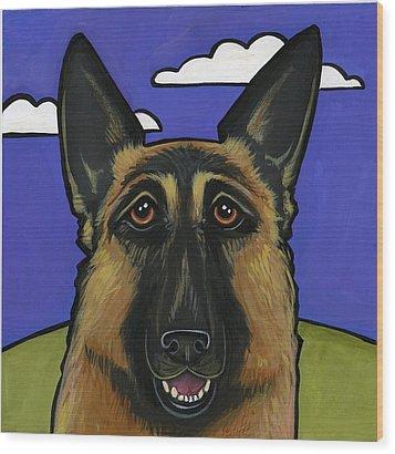 German Shepherd Wood Print by Leanne Wilkes