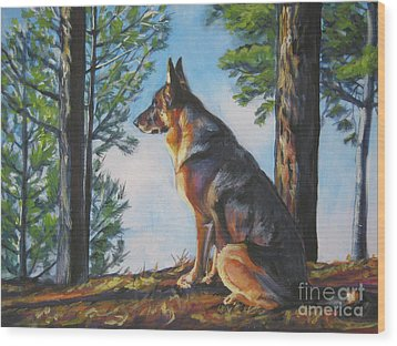 German Shepherd Lookout Wood Print