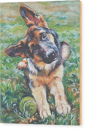 German Shepherd Pup With Ball Wood Print by Lee Ann Shepard