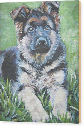 German Shepherd Puppy Wood Print by Lee Ann Shepard
