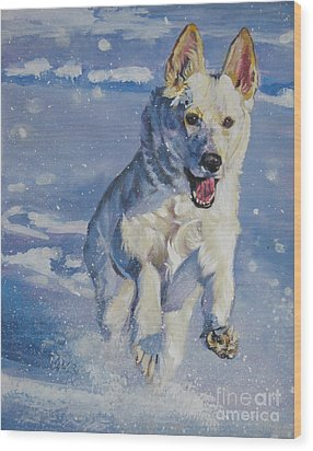 German Shepherd White In Snow Wood Print